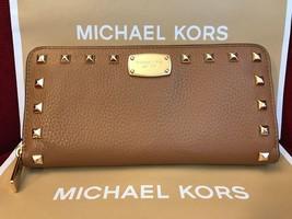 Michael Kors Jet set studded leather Zip Around Continental Wallet Acorn... - $84.00