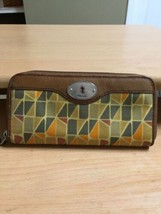 FOSSIL Key-Per Coated Canvas Zip Around Wallet Clutch Tan Brown Leather - $22.23