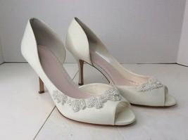 Melissa Sweet Half Dorsay Beaded Peep Toe Heels White Bridal Wedding Sho... - $18.55