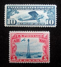 1927 1928 Scott # C10 & C11 Lindbergh Spirit St Louis & Beacon USPS Mint... - $12.37