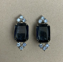 Vintage Blue Rhinestone Clip On Earrings Two Tone Dark Light Periwinkle ... - $15.80