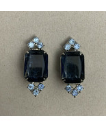 Vintage Blue Rhinestone Clip On Earrings Two Tone Dark Light Periwinkle ... - $15.80
