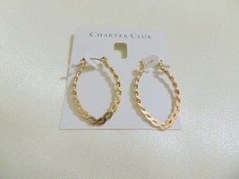 "Charter Club 1-1/2"" Gold Tone Flat Rope Hoop Earrings H900 $29 - $9.55"