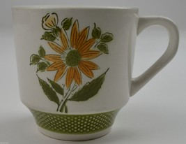 Bellegay Ironstone Pattern 4292 Flat Cup Floral Green Border White Polka Dots - $5.99