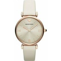 Emporio Armani AR1771 Rose Gold Nude Leather Strap Womens Petite Watch - $87.68