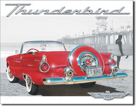 Ford T-Bird Thunderbird Beach Scene Red Classic Car Metal Sign - $18.95