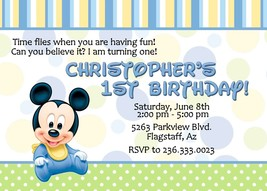 Baby Mickey Mouse Birthday, Baby Shower, Invitations, Personalized, 12 i... - £9.07 GBP
