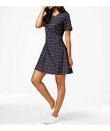 Maison Jules Dress Sz S Blue Notte Combo Lattice Short Sleeve A-Line Cas... - €35,56 EUR
