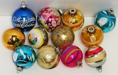 Primary image for 12 Vintage Glass Christmas Ornaments - #1