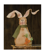Country BURLAP BUNNY w/ BUTTONS DOLL Primitive Spring Easter Farmhouse R... - $48.99