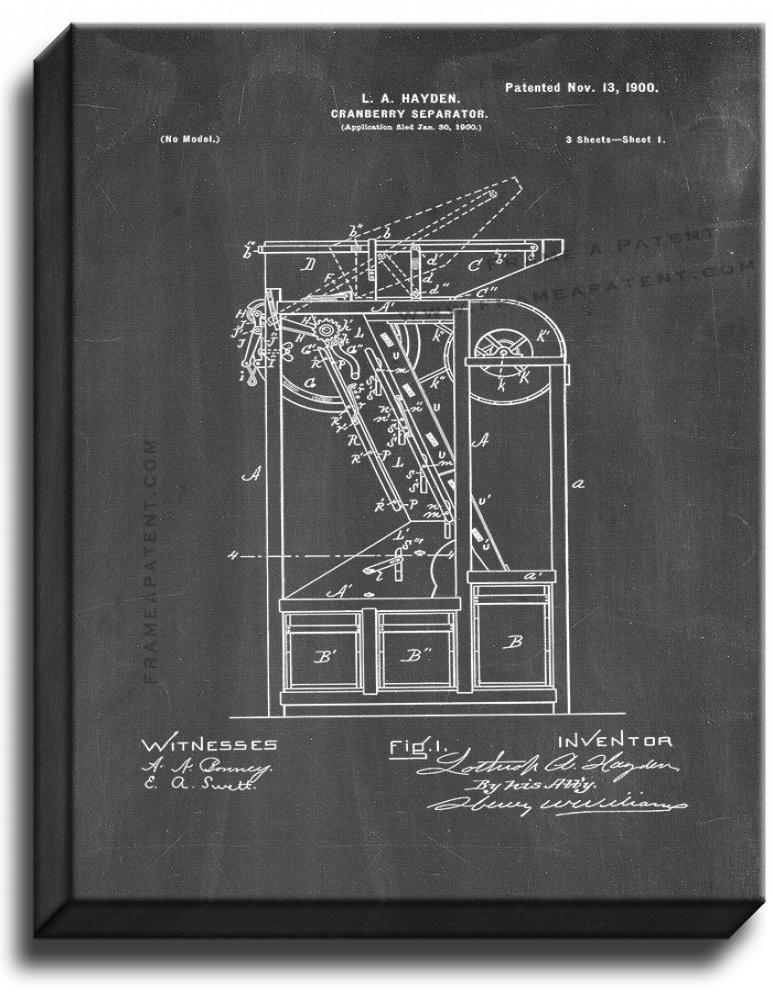 Primary image for Cranberry-separator Patent Print Chalkboard on Canvas
