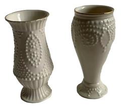 "Classic Lenox China Bud Vases Set Of 2 Beaded Ivory With Gold Trim 5"" Gift - $10.88"