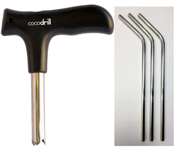 CocoDrill Coconut Opener Tool + 3 Stainless Steel Straws tap Opening Water Drill - $14.29