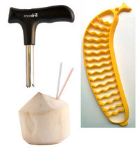 CocoDrill Coconut Opening Opener Tool + Banana Slicer Raw Food Pack! Coco Water - $16.99