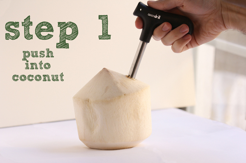 CocoDrill Coconut Opening Tool Opener Drill Punch Cut Open RAW Coco Milk Juice