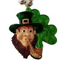 Leprechaun with Pipe Shamrock St Patrick's Day Mardi Gras Bead Necklace - €4,02 EUR