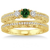 2 Carat Emerald & Simulated Diamond Antique Bridal set on 14k Yellow Gold Over  - $99.99