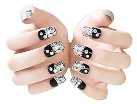 2 Boxes(48 Pieces) 3D Design False Nails/Wedding False Nails Sets, Black