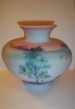 Fenton Glass BLUE BURMESE Misty Morn Tree Scene Vase Limited Ed #2/15 Ki... - $271.12