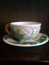 Large Soup Size Cup and Saucer - floral Design - $7.99