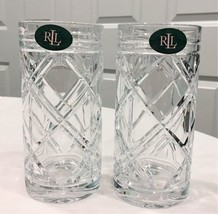 2 Ralph Lauren Brogan Highballs  Crystal Tumblers Glasses  NWT - $39.59