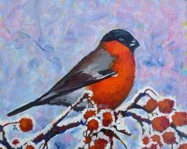 "Akimova: BULLFINCH, acrylic, bird, winter, size 8""x10"", Christmas - $17.00"