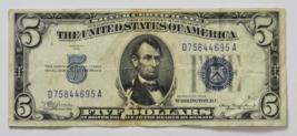 1934 $5 Silver Certificate Five Dollars Note D75844695A FR#1650 - $14.84