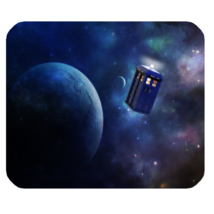 Mouse Pad Doctor Who Tardis At Space Earth Moon Galaxy For Planet Video Game - $6.00