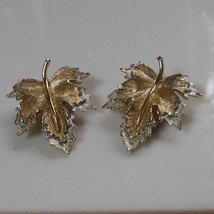 Signed Sarah Coventry Gold & Silver tone Leaf Clip-on Earrings Pat. Pending - $32.18