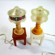 2 Vintage 1980s Fisher Price Tiffany Style Plug in Lamps on Tables For Dollhouse - $14.99