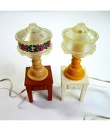 2 Vintage 1980s Fisher Price Tiffany Style Plug in Lamps on Tables For D... - $14.99