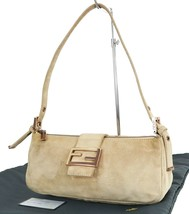 Authentic FENDI Beige Suede and Leather Tote Baguette Bag Purse #35217 - $249.00