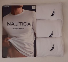 3 GENUINE NAUTICA MENS COTTON WHITE CREW-NECK S M L XL XXL T-SHIRTS UNDE... - $26.90