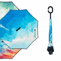 Starry Sky Anti UV Inverted Umbrella Reverse Folding Double Layer - $18.99