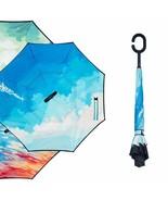Starry Sky Anti UV Inverted Umbrella Reverse Folding Double Layer - $18.99