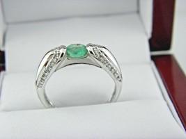 14k White Gold Natural Emerald & Diamond Ring Sz 7. - $260.68