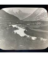 Vtg Magic Lantern Glass Slide Photo Scandinavian Mountain River Valley Q... - $12.30