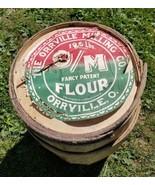Home Treasure Antique Wooden Barrel Rustic Wood Slat Ring Orrville Milli... - $47.49