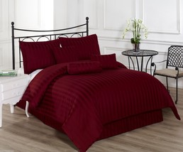Royal Calico Burgundy 7p Comforter set Damask Stripe 100% Cotton 350 Thr... - £52.62 GBP