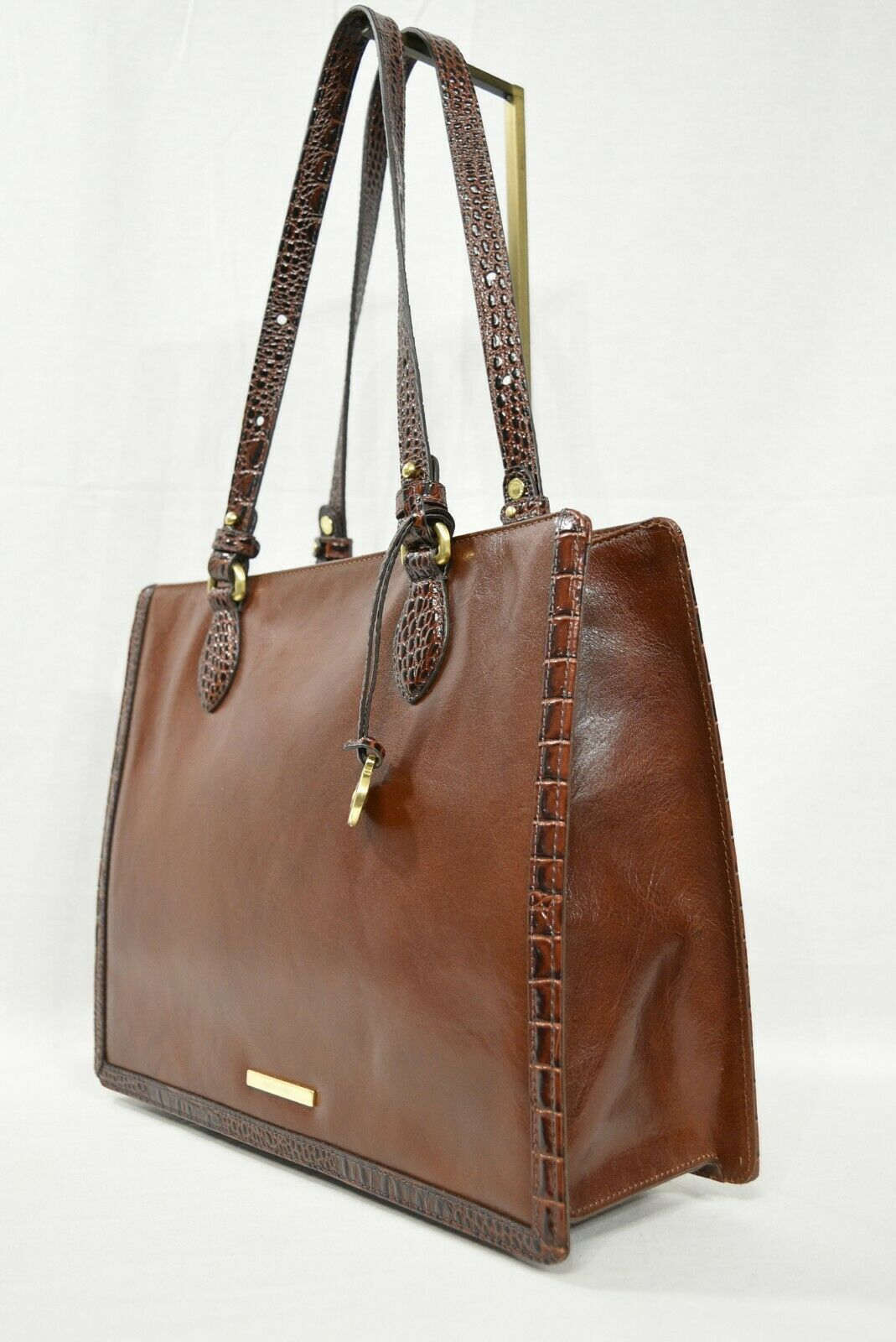 NWT Brahmin Medium Camille Leather Tote/Shoulder Bag in Cognac Quincy