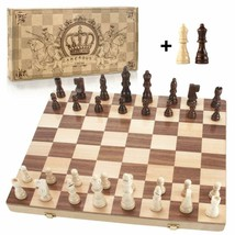 """15"""" X 15"""" Magnetic Wooden Chess Set, Folding Travel Chess Board With Carry Bag - $41.57"""