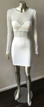 Bodycon Neoprene Spandex mesh white party sheer club long Slv Dress S - $43.70