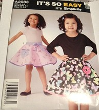 Simplicity Pattern 2083 Girls Pull-On Skirts A2083 Size 3-8 It's So Easy - $11.76
