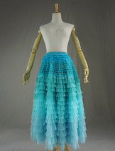Multi-Color Layered Tulle Skirt High Waisted Tiered Tulle Skirt Outfit image 7