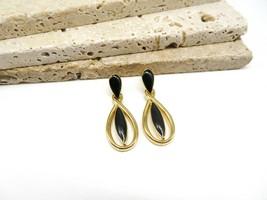 Vintage Trifari Black Enamel Gold Tone Modernist Dangle Pierced Earrings... - $16.99