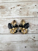 Vintage Clip On Statement Earrings Flower and Leaves - $14.99