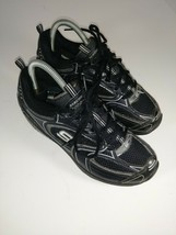 Skechers Shape Ups Fitness Sneaker All Black Womens Size 7 Leather - £37.91 GBP