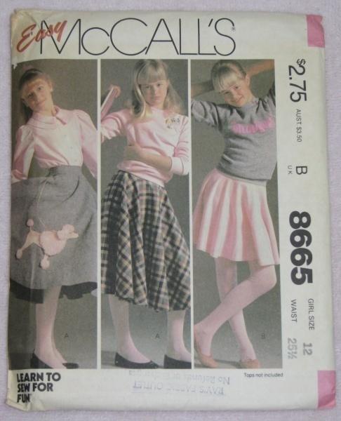McCalls 8665 Sewing Pattern Girls Circular Skirt Sz. 12  McCall's