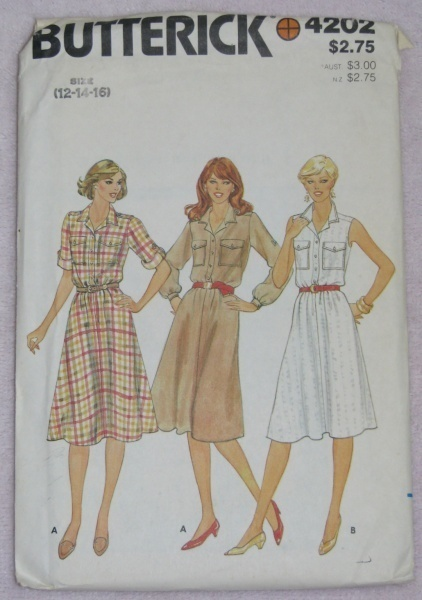 Butterick 4202 Sewing Pattern Misses Dress Sz. 12-14-16  Butterick