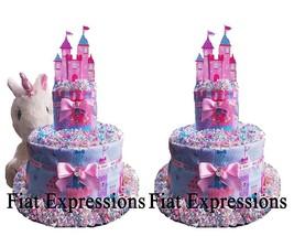 Unicorn Diaper Cake 2 Tier, Pink & Blue Unicorn Baby Shower Diaper Cake,... - $57.00